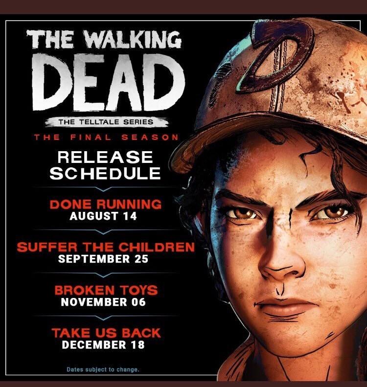 TellTale's The Walking Dead The Final Season Release Schedule Announced