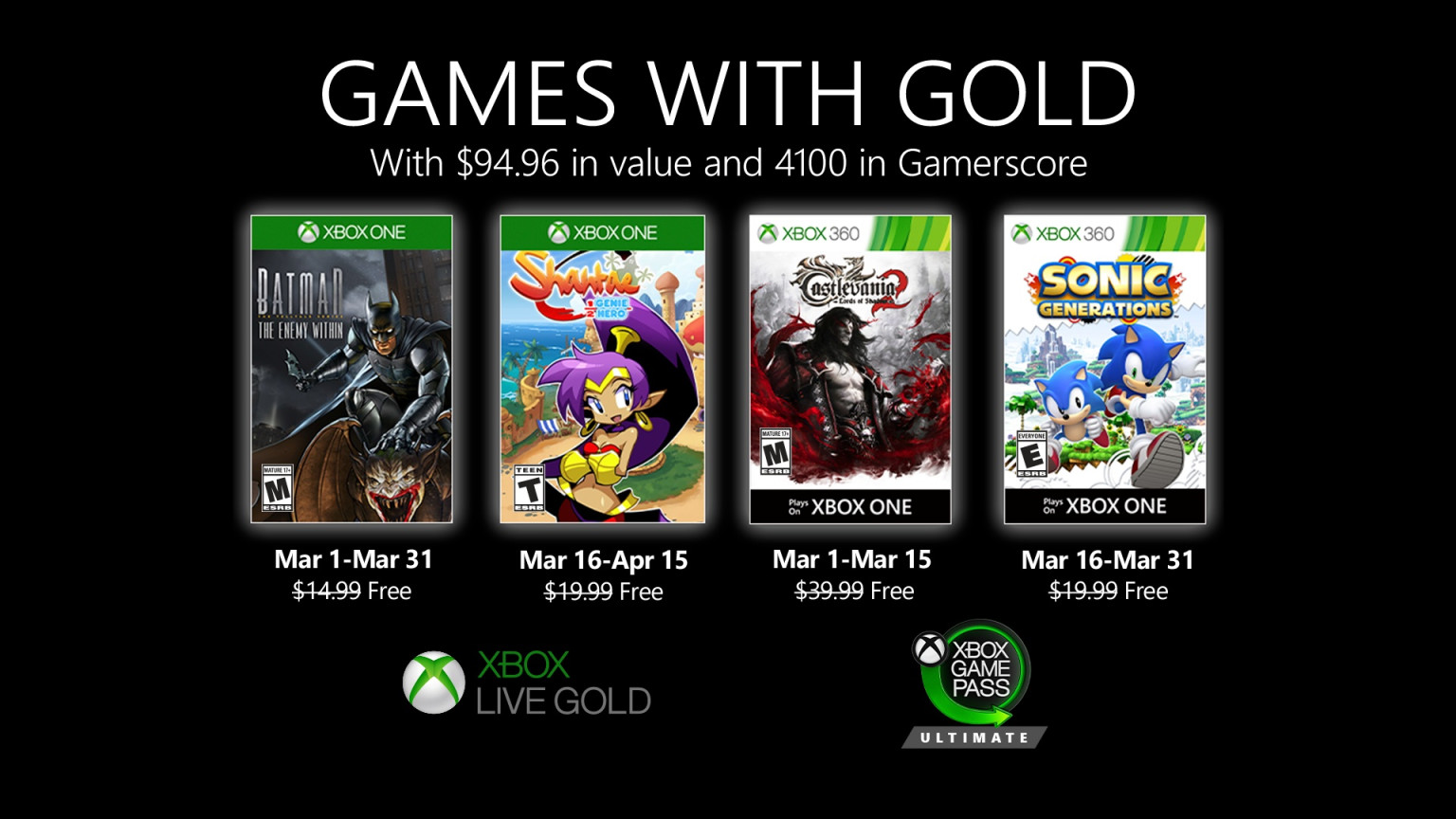 Games With Gold Announced for April 2020