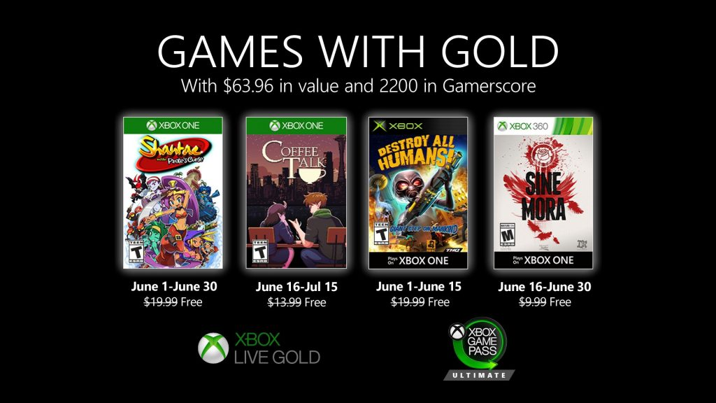 Xbox Games With Gold For June 2020 Announced